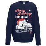 Funny Premium Christmas Santa Hat Merry Trucking Christmas Lorry Driver Mens Navy Xmas Jumper Top